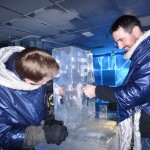 Ice Bar - Morgan and Shaun trying to melt the ice (so your hands meet in the middle) to get a free drink