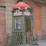 old phone booth outside the Church