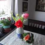 tulips in our Delft vase