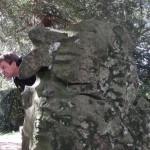 Blarney Castle - Morgan with the Witches Stone - do you see the face?