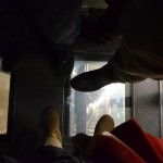in the elevator - looking down