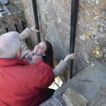 Blarney Castle - leaning back to kiss the Blarney stone!
