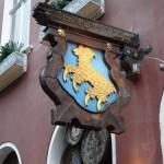 the sign for Zum Güldenen Schaf  (the golden sheep)