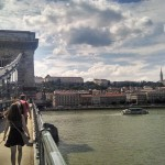 walking over the Chain Bridge to the Pest side