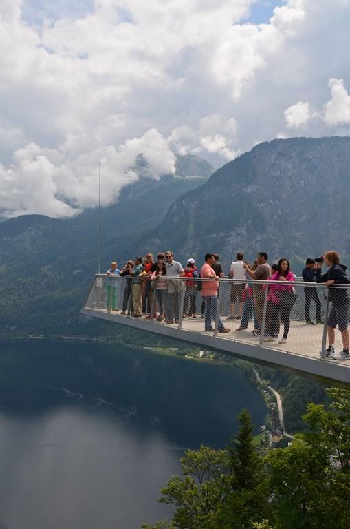 Patio hanging 1181 feet above Hallstatt