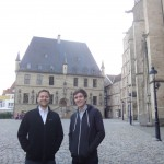 Tour of Osna - Morgan and Mathias in front of the Rathaus.