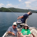 fishing with my parents (looks like Morgan caught a big one!)