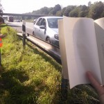 Mathais did a little reading while we were waiting around for the tow truck