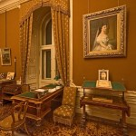Franz Joseph's desk (he started working at 5 am every day - yuck!) with a painting of his wife Sisi on the wall.
